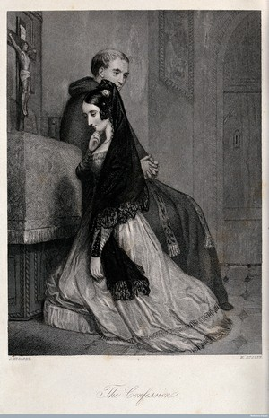 A woman confessing to a priest. Engraving by H. Austen after J. Herbert. Wellcome Library, London