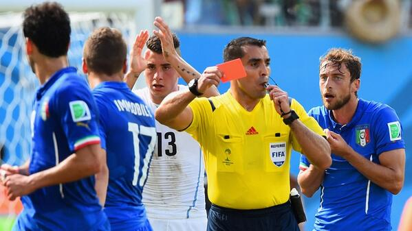 @FIFAWorldCup: @ClaMarchisio8's red card is Italy's 8th #WorldCup sending off