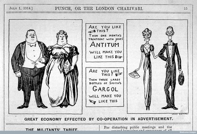 """Great economy effected by co-operation in advertisement"" (Punch, Londres, 1914)  