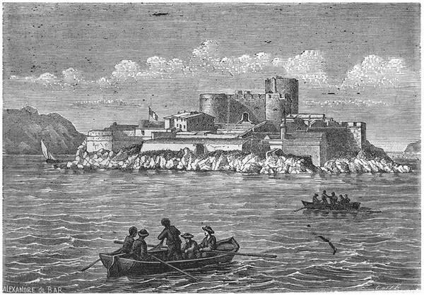 «Marseille: Le Chateau d'If», ilustración de de Alexandre de Bar, 1880.