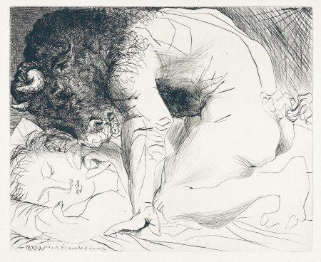 Minotauro acariciando a una mujer dormida (Pablo  Picasso, 1933)